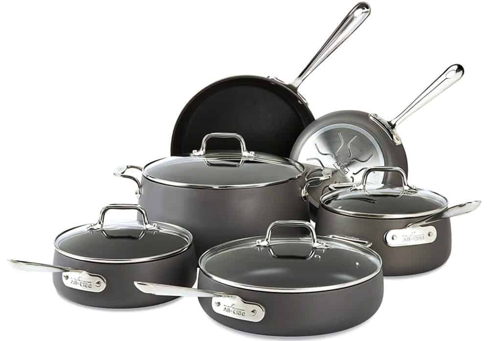 All-Clad E785SC64 HA1 Dishwasher Safe PFOA Free Cookware Set