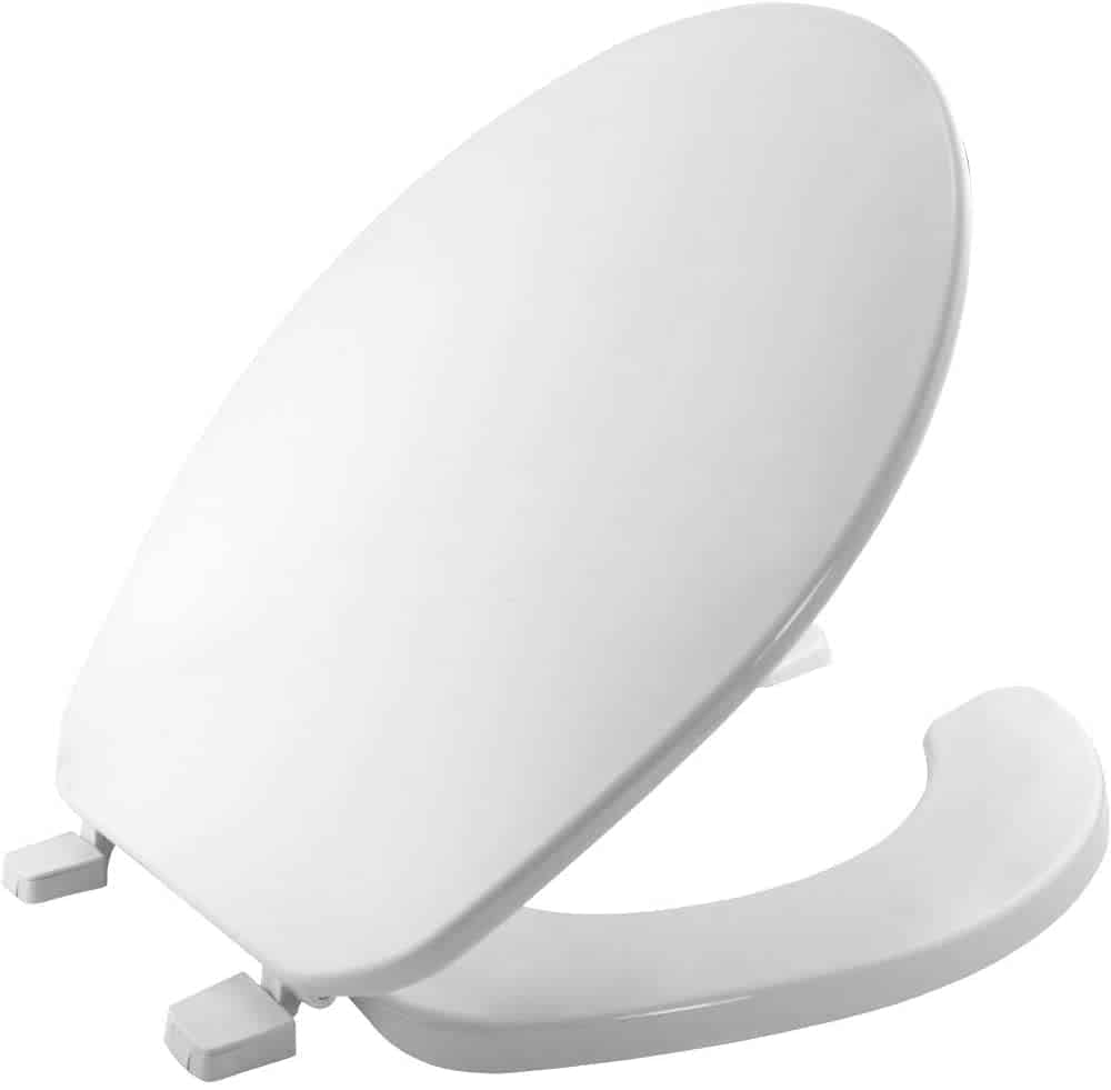 BEMIS 75 000 Commercial Open Front Toilet Seat with Cover, ROUND,